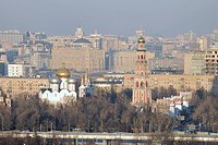 Cityscape of Moscow city with smog, Moscow, Russia