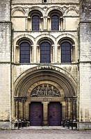 Detail of entrance doorway at the Abbaye Aux Dames in Caen, Calvados, Normandy, France