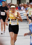 Founder and former president of the Swiss Women's Run, Verena Weibel crossing the finish line, 1 June 2008, Berne, Switzerland, Europe
