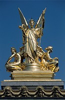 Gilded figural group, L'Harmonie, the left roof sculpture of the Opéra Garnier, Paris, France, Europe