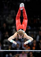 Fabian Hambuechen, Germany, performing on the horizontal bar, Gymnastics World Cup Stuttgart 2008, Stuttgart, Baden_Wuerttemberg, Germany, Europe
