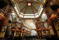Leadenhall Market shopping arcade in the financial district of London, England, Great Britain, Europe