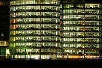 Night shot of an illuminated office building in London, England, Great Britain, Europe