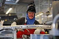 Welder wearing protective mask, Audi R8 construction at the Audi Plant in Neckarsulm, Baden-Wuerttemberg, Germany, Europe