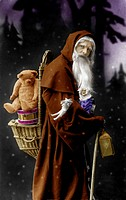 Historic photograph, Santa Claus with a teddy