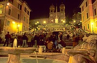 Spanish Steps at night with Santa TrinitÓ dei Monti and Fontana della Barcaccia, Italy, Rome