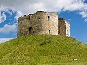 Cliffords Tower, York Castle, in the historic city centre of York, England, UK