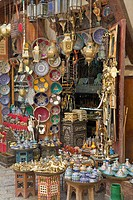 Shop selling pottery and brass, Fez, Morocco