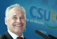 Erwin Huber, CSU, minister of state in the bavarian state ministry for economy, infrastructure, traffic and technology, Bavarian economy minister, at ...