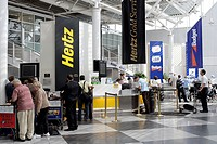 Car Rental Desks of the Hertz and Budget car rental companies in the Munich Airport, Bavaria, Germany, Europe