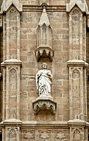 Sculpture on the main portal, La Seu Cathedral, Palma de Mallorca, Majorca, Balearic Islands, Spain, Europe