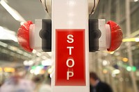 Stop sign on the end beginning of the escalator moving staircase