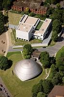 Aerial photo, Jewish synagogue beside the planetarium, Bochum, Ruhr area, North Rhine-Westphalia, Germany, Europe