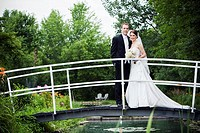 Newlyweds, Bride and Groom on bridge