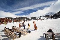 Apress ski at winter sports village La Plagne. Snow on Mountains of the French Alps. Tarentaise, Savoy, Savoie, Peisey, France.