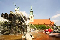 Travel photography from the Alexanderplatz, Neptunbrunnen, Neptune fountains, Marien church, Berlin, Germany.