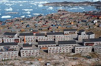 modern buildings in the city of Ilulisaat, third biggest town of Groenland, Greenland, Ilulissat