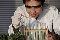 Scientist testing plants in test tube