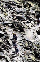 Group of walkers walking along a very rocky hill path