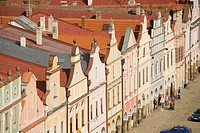 Old houses, facades, people, old town, row of houses, renaissance, UNESCO World Heritage Site, main square, market place, Tel&269,, Telc, Teltsch, Cze...