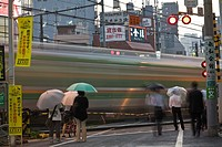 Railway crossing, Tokyo, Japan, Asia