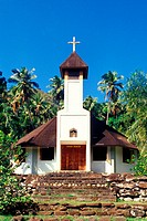 church on the island Hiva Oa, French Polynesia, Marquesas