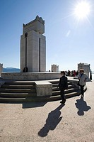Tourists on the Citadelle, the Mausoleum on the grounds of the Vittoriale degli Italiani, Italian victory monument, estate of the Italian poet Gabriel...