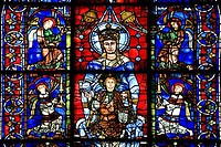 Stained glass window of a cathedral, Chartres Cathedral, Chartres, Eure_Et_Loir, France
