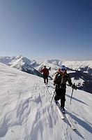 Ski hikers on a trek up Mount Joel and Mount Laempersberg, Wildschoenau, Tyrol, Austria, Europe