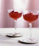 Wild strawberry jelly in glasses