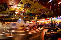 fun fair in the evening, bumper cars, Germany, Baden_Wuerttemberg, Eberbach