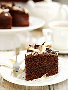 Piece of chocolate cake with chocolate shavings