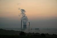 power station at sunrise, Germany, Saarland, Ensdorf