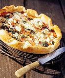 Onion, goat´s cheese and ham tart