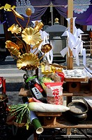 Offerings by the Yamabushi at the spring festival and fire walking, Shogoin Temple near Kyoto, Japan, Asia