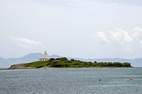 Lighthouse on Alcanada Island near Alcudia, Majorca, Balearic Islands, Spain, Europe