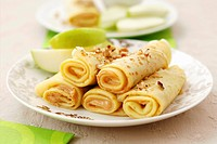 Pancakes with peanut butter filling and apple