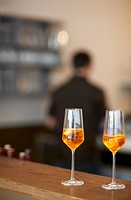 Two glasses of Spritz Aperol