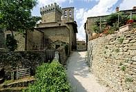 Fortified tower, Chiesa dei Santi Tiburzio e Susanna, Castello di Gargonza, province of Arezzo, Tuscany, Italy, Europe