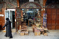 Souvenir shop in the historic city centre of Damascus, Syria, Middle East, Asia