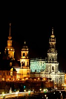 Elbpromenade with Hofkirche, Dresden, Germany, Saxony, Dresden