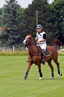 Polo player riding his pony during the Berenberg High Goal Trophy 2008 polo tournament in Thann, Holzkirchen, Bavaria, Germany, Europe
