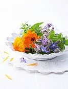 Borage flowers, marigolds, verbena and basil on plate