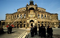 Semperoper opera house, historic image scanned from slide, Dresden, Saxony, DDR, East Germany, Germany, Europe