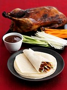 Roast goose with vegetable wraps and dip