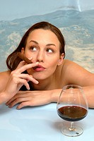 woman in jacuzzi, smoking a cigar, beauty, bath, beauty, portrait