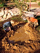 kids build a small pond out of foil and mud in the natural garden