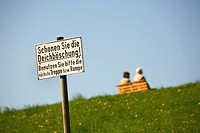 information sign at the dyke, Germany, Lower Saxony, Cuxhaven