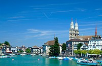 view over the Limmat to the Grossmuenster, Switzerland, Zuerich
