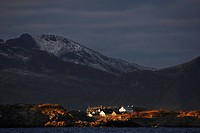 Henningsvaer from the sea, Norway, Lofoten Islands, Vagan